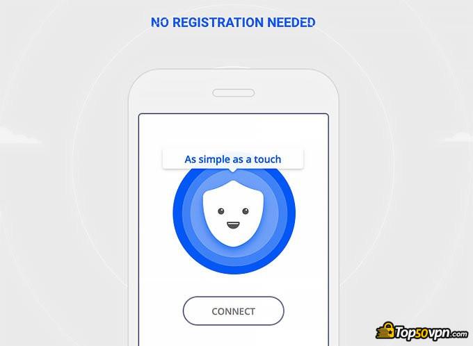 Betternet отзывы: Телефон с надписью о том, что регистрация не требуется.